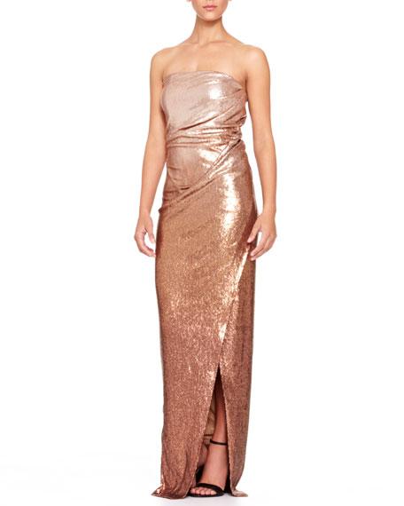 Strapless Lamé Twist Gown