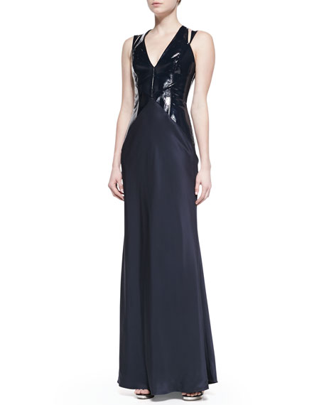 Plunging Patent-Bodice Gown