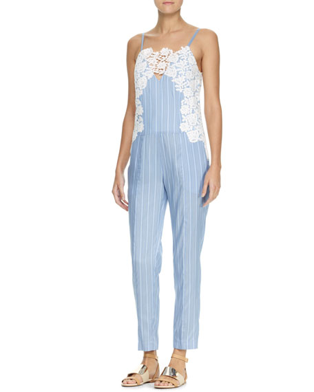 Lace-Embroidered Jumpsuit, Blue