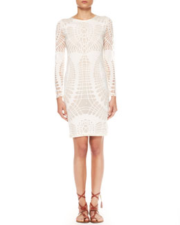 Jean Paul Gaultier Long-Sleeve Cutout Sheath Dress, Off-White
