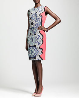 Lanvin Cap-Sleeve Paisley Sheath Dress