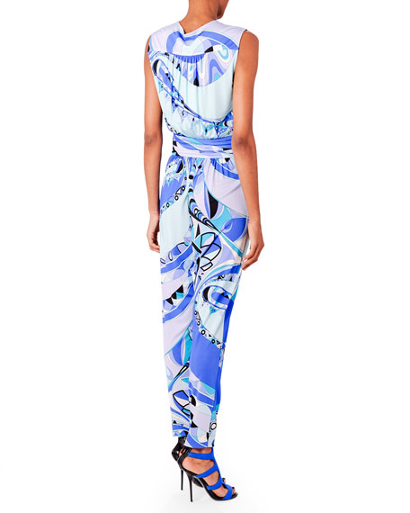 Printed Cross-Front Jumpsuit