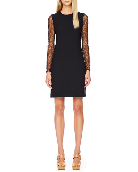 Lace-Sleeve Crepe Dress