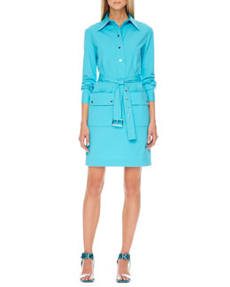 Michael Kors Belted Poplin Shirtdress