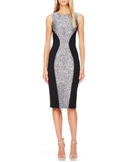 Michael Kors Printed-Panel Fitted Dress