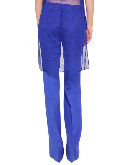 pant, silk cr?pe, front plea