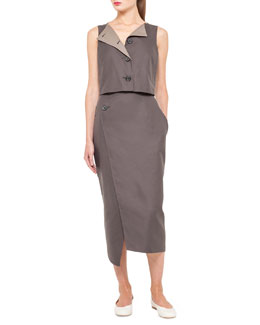 Akris Asymmetric Button-Top Dress