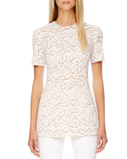 Michael Kors Short-Sleeve Lace Top