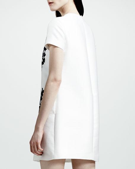 Stella McCartney Lace-Heart Shift Dress, White/Black