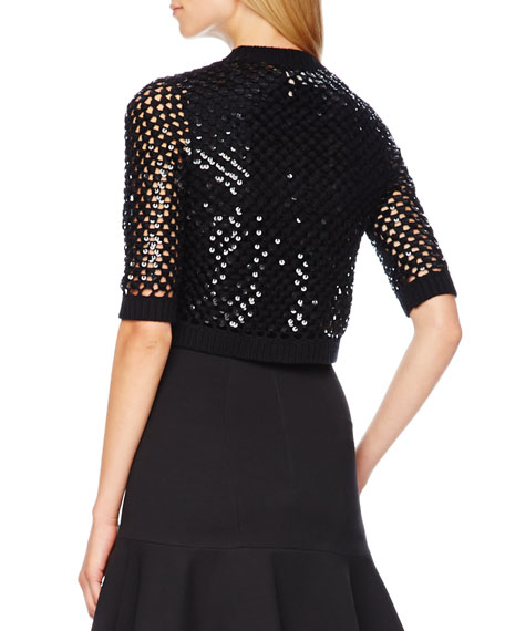 Sequined Open-Knit Shrug
