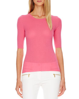 Michael Kors Ribbed Cashmere Top