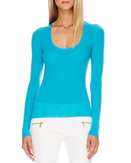 Michael Kors  Scoop-Neck Cashmere Sweater