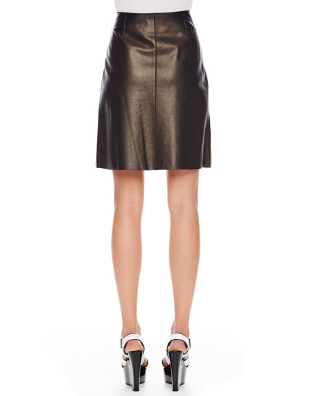 Colorblock Leather Skirt