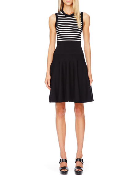 Striped Flare-Skirt Dress