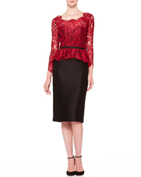 Floral Lace Tie-Back Dress, Red/Black