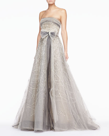 Strapless Tulle Gown, Platinum