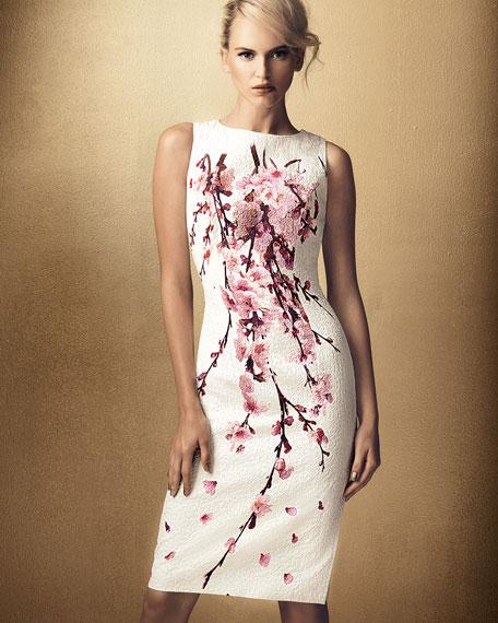 Cherry Blossom Jacquard Dress, White/Pink