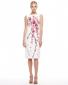 Carolina Herrera Cherry Blossom Jacquard Dress, White/Pink