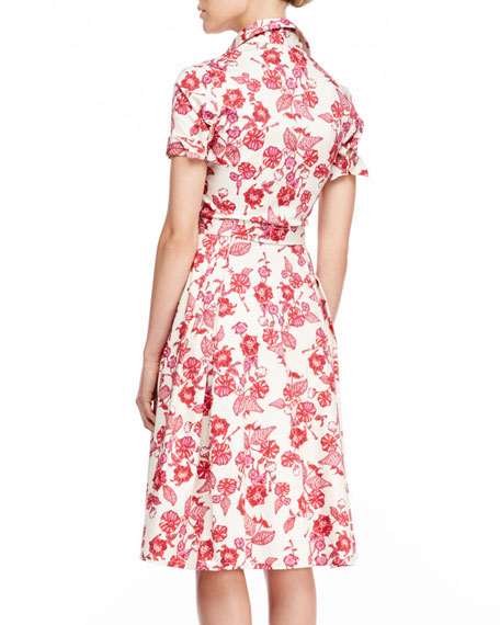 Floral-Print Shirtdress, Red
