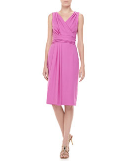 Carolina Herrera Wool Crepe V-Neck Dress, Violet