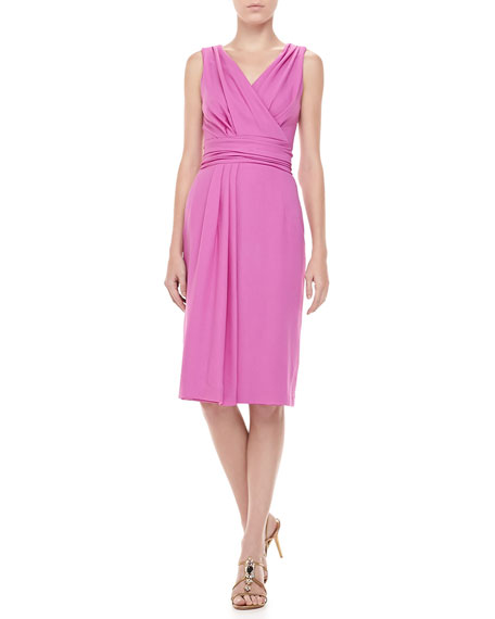 Wool Crepe V-Neck Dress, Violet