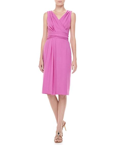Wool Crepe V-Neck Dress, Violet