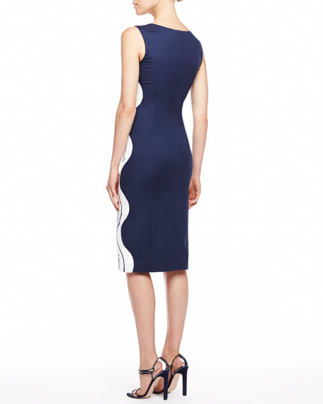 Waves Devore Sleeveless Dress, Navy/White