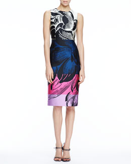 Carolina Herrera Floral-Print Scuba Dress, Black/Multicolor