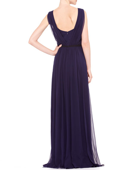 Sleeveless Chiffon Evening Gown, Ultramarine