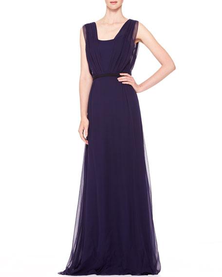 Sleeveless Chiffon Evening Gown, Ultramarine