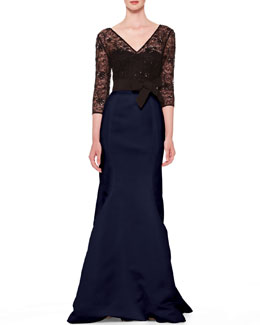 Carolina Herrera Lace-Top Taffeta Gown, Black/Ultramarine