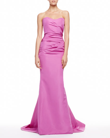 Silk Faille Strapless Gown, Violet