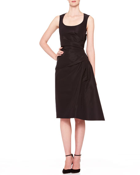 Carolina Herrera Side-Gathered Taffeta Dress, Black