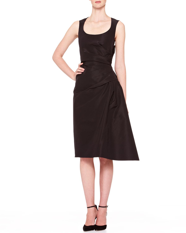 Side Gathered Taffeta Dress Black