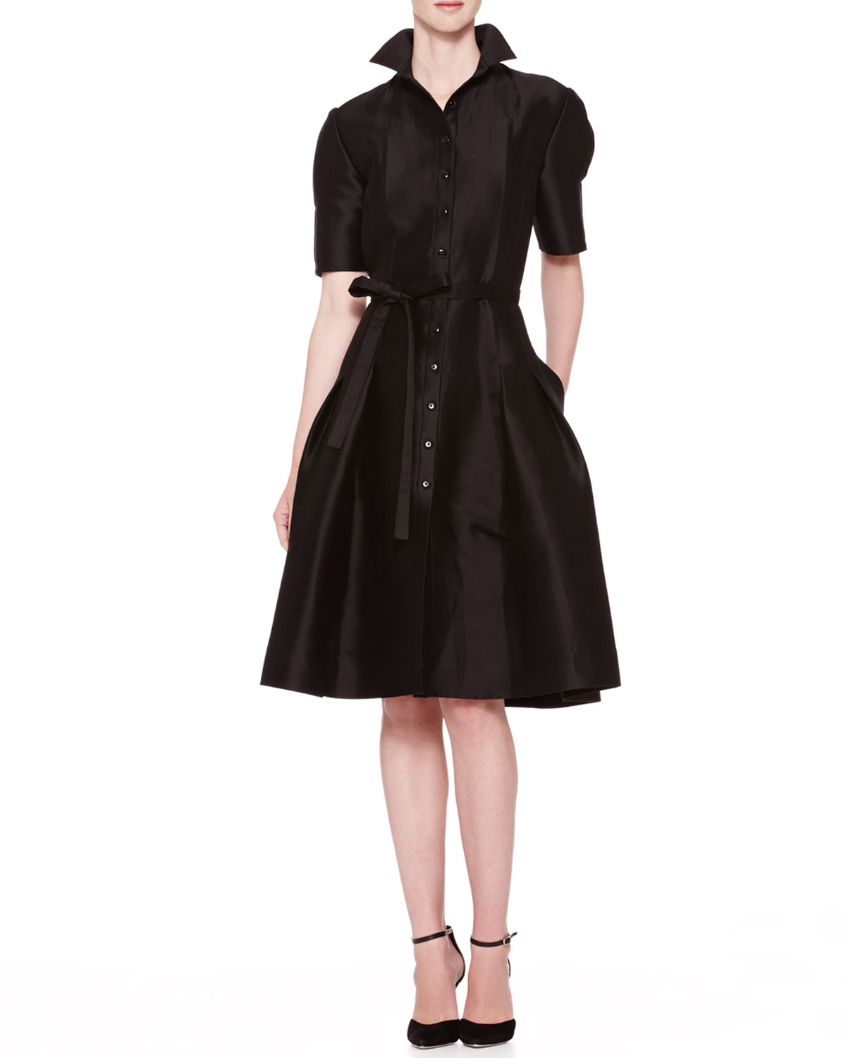 Flared Doupioni Shirtdress Black
