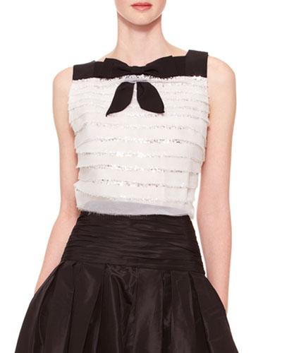 Carolina Herrera Sleeveless Tiered Bow Top, Ivory/Black