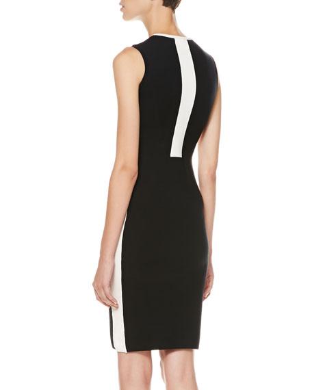 Two-Tone Sleeveless Sheath Dress