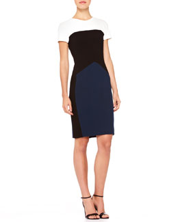 Narciso Rodriguez Short-Sleeve Colorblock Sheath Dress