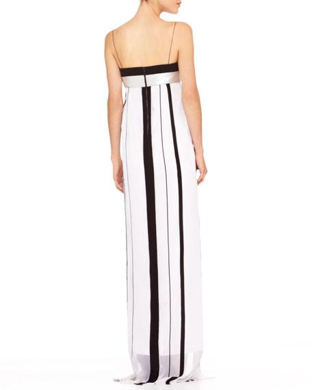 Striped Empire-Waist Gown