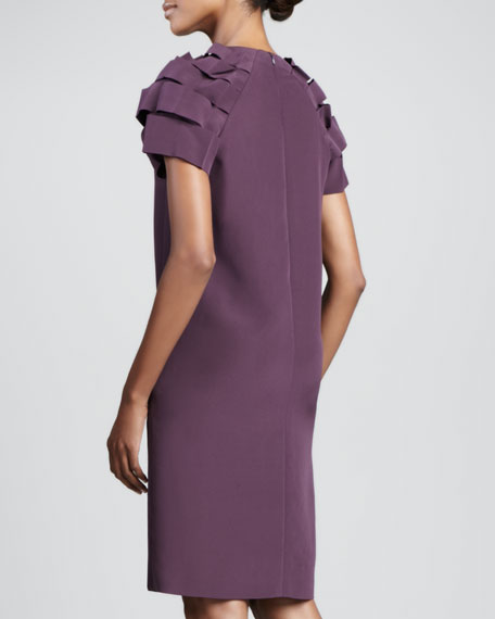 Ribbon-Sleeve Dress, Purple Ink
