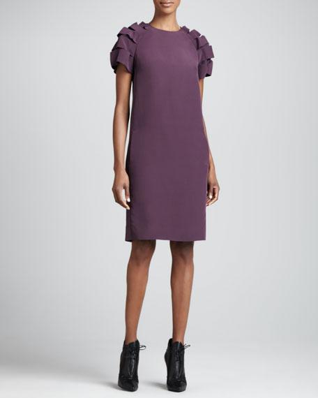 Ribbon-Sleeve Dress, Purple Ink