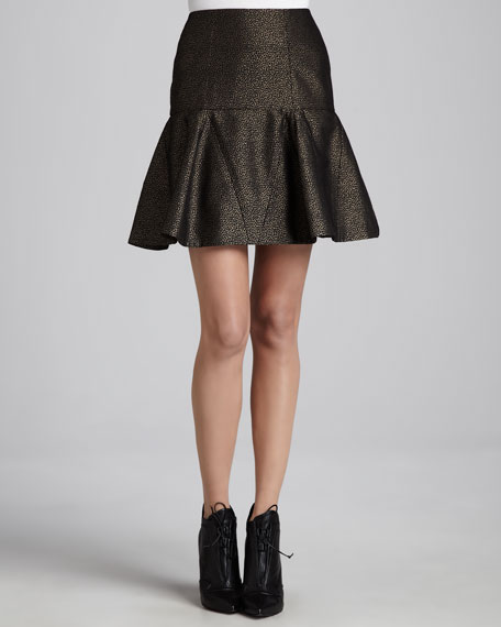 Spotted Fluted Skirt, Gray/Black