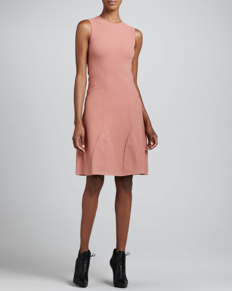 Godet-Hemmed Sheath Dress, Rose