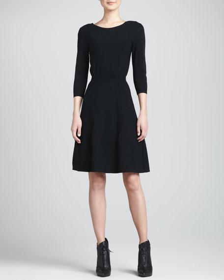 3/4-Sleeve Knit Dress, Black