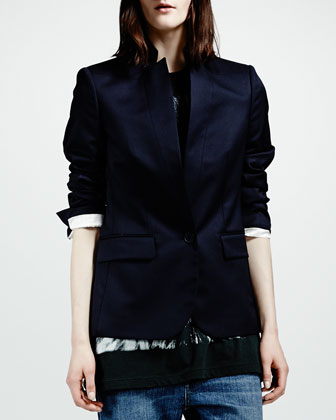 Stand-Collar One-Button Blazer, Charcoal