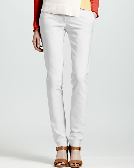 Skinny Front-Closure Pants, White