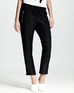 Stella McCartney Cuffed Python-Print Jacquard Pants, Black