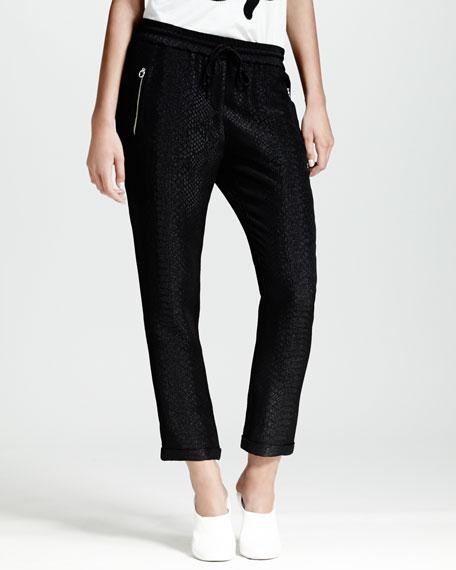 Cuffed Python-Print Jacquard Pants, Black