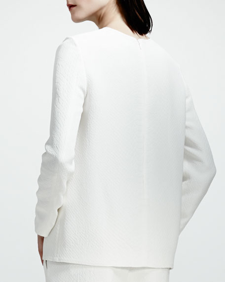 Python Jacquard Tulip-Hem Top, White