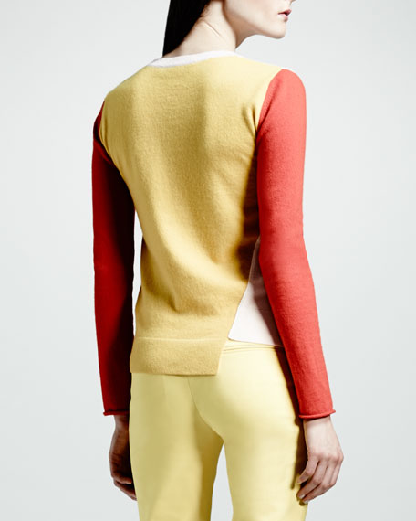 Asymmetric Colorblock Cashmere Sweater